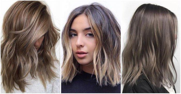 Окрашивание на волосах средней длины