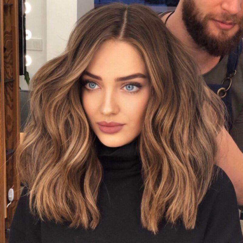 Сомбре на средних волосах
